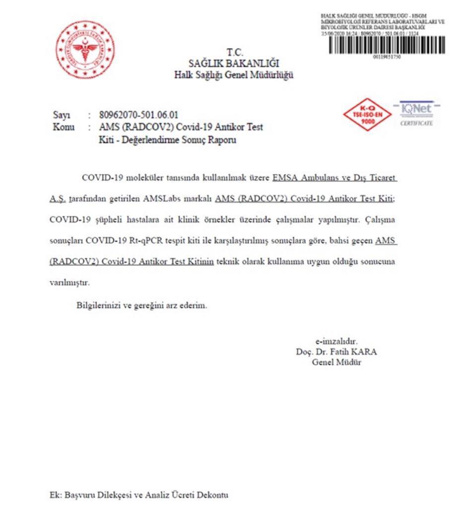 AMS Covid-19 Antikor Test Kiti Değerlendirme Sonuç Raporu