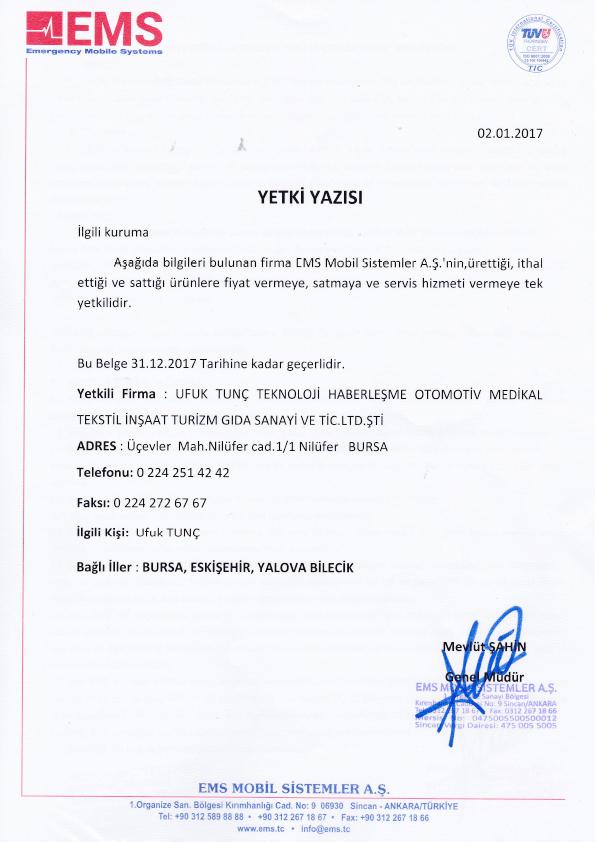 Bursa, Eskişehir, Yalova, Bilecik EMS Bayisi